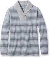 L.L. Bean Ultrasoft Sweats, Shawl Collar Pullover Stripe