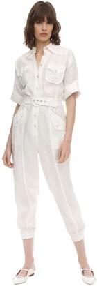 Zimmermann Belted Linen Jumpsuit