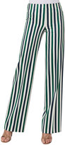 Akris Punto Mikka Striped Wide-Leg Pants, Green Pattern