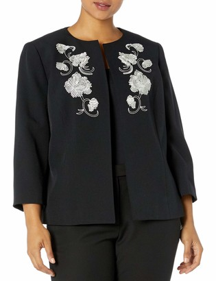 Kasper Women's Plus Size Stretch Crepe Open Jacket with Front Detail