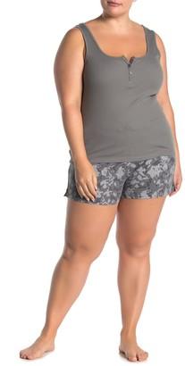 Joe Fresh Henley Tank Top & Printed Shorts Pajama 2-Piece Set (Plus Size)