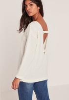 Missguided White Cozy Tab Back Sweater