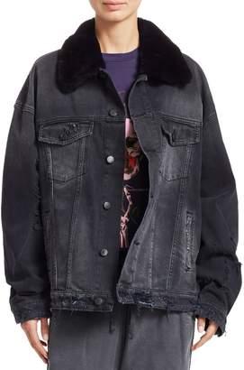 Alchemist Rocky Rabbit Fur Trim Distressed Denim Jacket
