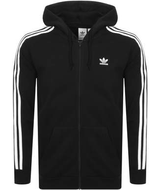adidas 3 Stripes Full Zip Hoodie Black