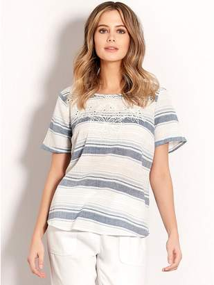 M&Co Cut out stripe top