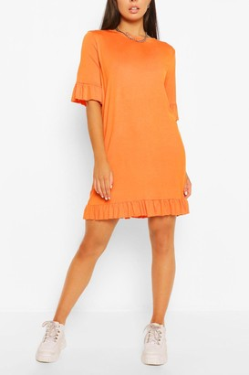 boohoo Ruffle Detail Jersey Shift Dress