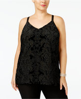 INC International Concepts Plus Size Flocked Velvet Tank Top, Only at Macy's