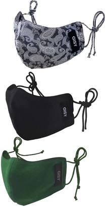 Gisy Set Of 3 Pure Silk Satin Face Mask/ Metal Water Tree