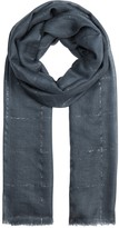 Denis Colomb Blue Checked Cashmere Blend Scarf