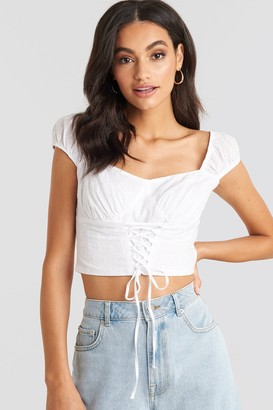 NA-KD Broiderie Anglais Lace Up Top