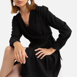 Short Wrap Dress with Long Sleeves