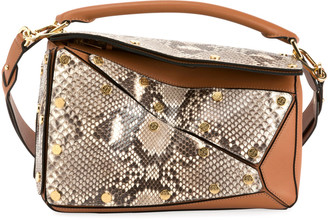 Loewe Puzzle Multi Patch Python Shoulder Bag