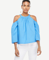 Ann Taylor Poplin Structured Cold Shoulder Top