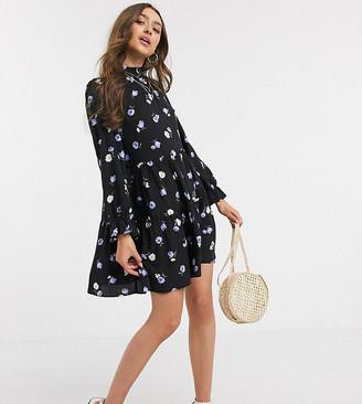New Look Petite frill neck tiered mini dress in black pattern