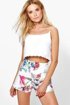 Boohoo Kellie High Waisted Floral Print Shorts