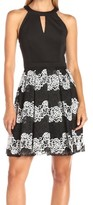 GUESS Black White Lace Women's Size 6 Halter Neck Pleated Dress