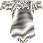 River Island Girls Black stripe ruffle bardot bodysuit