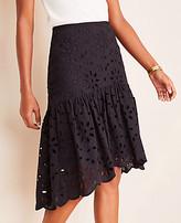 Ann Taylor Petite Floral Eyelet Flounce Skirt