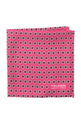 T.M.Lewin Silk Spot Flower Geo Pocket Square