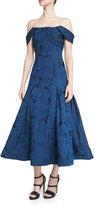 Monique Lhuillier Off-the-Shoulder Leaf Jacquard Midi Dress, Blue Sapphire