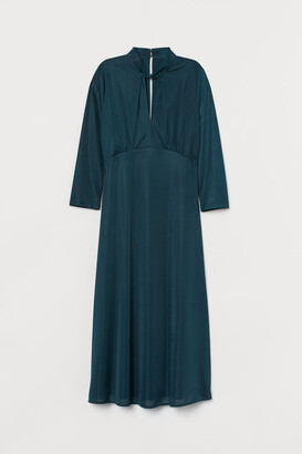 H&M Dress with Twisted Collar - Turquoise