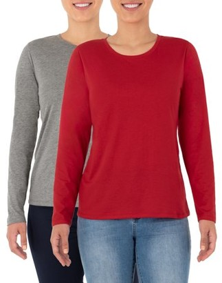 Time and Tru Women's Essential Pima Cotton Long Sleeve Crew Neck T- Shirt - 2 Pack