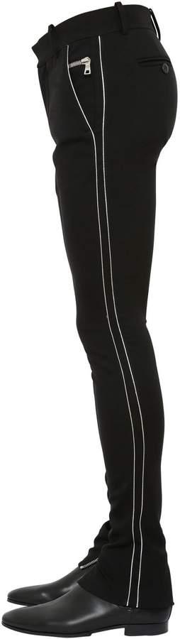Balmain 15cm Skinny Cotton Jersey Pants W/Piping
