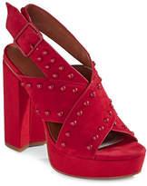 H Halston Bailey Studded Suede Platform Heeled Sandals