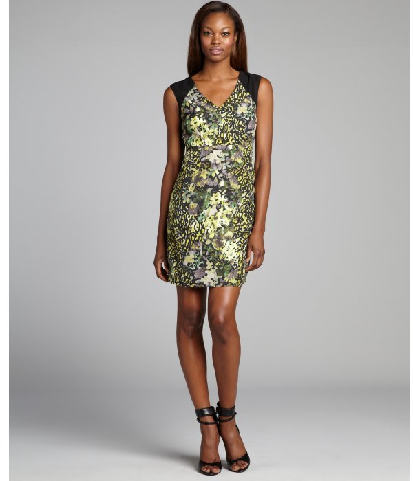 Marc New York green and black leopard and floral printed sleeveless 'English Garden' dress