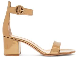 Gianvito Rossi Portofino 60 Metallic Leather Block Heels - Womens - Gold