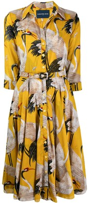 Samantha Sung Crane Print Shirt Dress