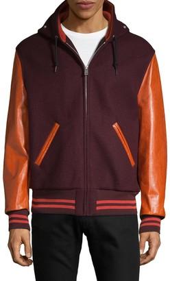 Maison Margiela Leather Sleeve Wool Bomber Jacket