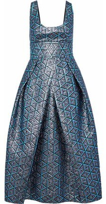 Milly Stella Pleated Metallic Jacquard Midi Dress
