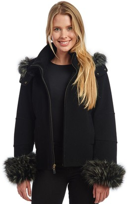 Fleet Street Women's Faux Fur Trimmed Hooded Coat