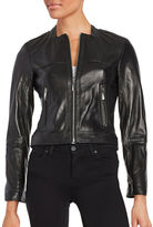 Vince Camuto Front Zip Leather Moto Jacket