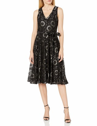 Tommy Hilfiger Women's V-Neck Stretch Lace Fit and Flare Midi