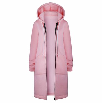 Tuduz Outerwear TUDUZ Women New Spring Autumn Long Sleeve Patchwork Thin Skinsuits Casual Hooded Zipper Sport Coat Lightweight Breathable Loose Fit Outwear(Pink XL)