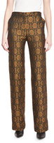 Etro Medallion Wide-Leg Pants, Gold