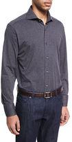 Neiman Marcus Jersey Knit Sport Shirt, Charcoal