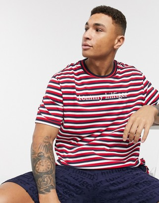 Tommy Hilfiger remix logo striped lounge t-shirt in red