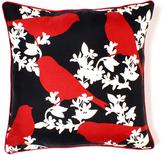 Goldfinch in Scarlet Luxe Silk Pillow
