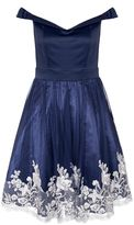 Quiz Navy Satin Embroidered Hem Bardot Dress