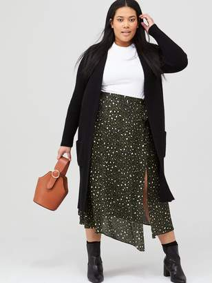 V By Very Curve Knitted Longline Cardigan - Black