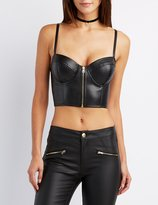 Charlotte Russe Faux Leather Bustier Crop Top