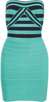 Herve Leger Strapless striped bandage dress
