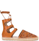 RED Valentino lace up sandals - women - Leather/rubber/Raffia - 36