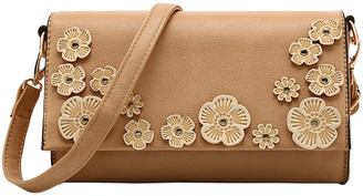 MKF Collection by Mia K. Women's Crossbodies Apricot - Apricot Floral Applique Crossbody Bag