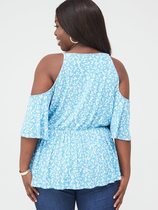V By Very Curve Cold Shoulder Elasticated Waist Top - Floral