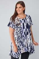Yours Clothing Indigo & White Contrast Print Top With Hanky Hem