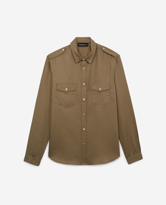 The Kooples Military-style loose khaki shirt